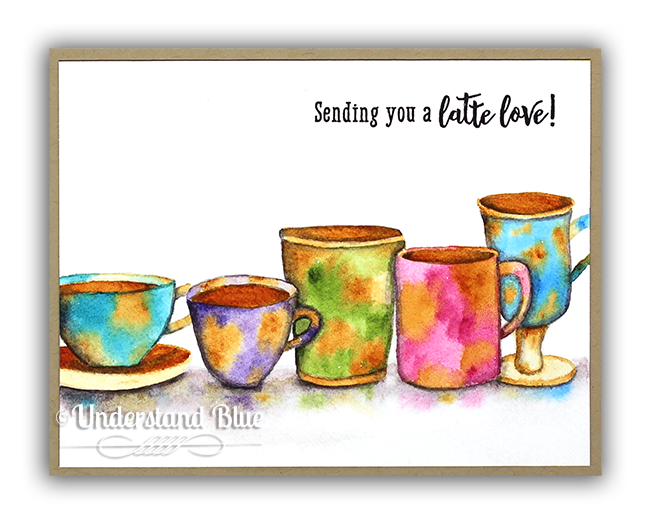 No Line watercolor Hero Arts coffee cups by Understand Blue