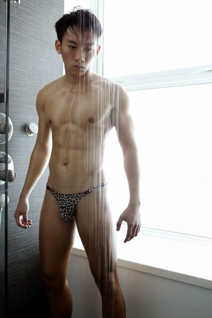 Asian boy in underwear