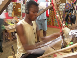 Weaving kente cloth in Bonwire Africa