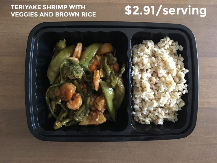 teriyaki shrimp with brown rice and veggies