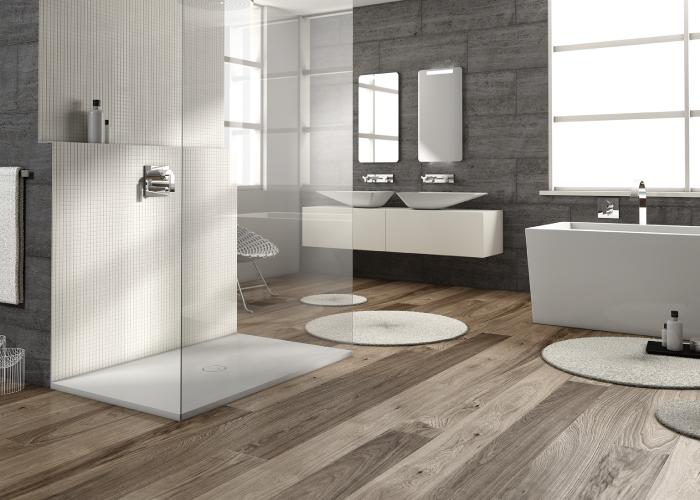 Piatti doccia a filo pavimento per bagni open space dettagli home