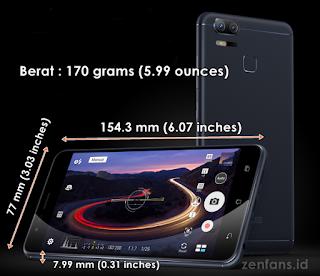 ukuran dari Zenfone Zoom S