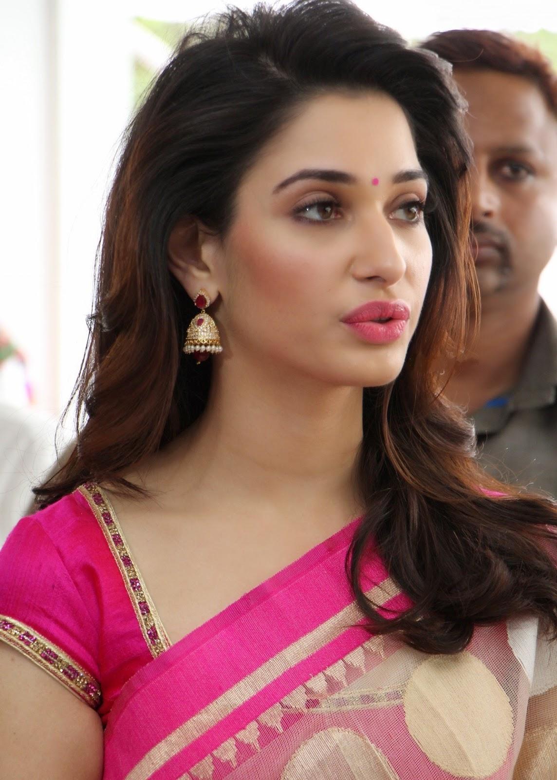 Tamanna Latest Photos in Pink Saree at Trisha A Trendy ...