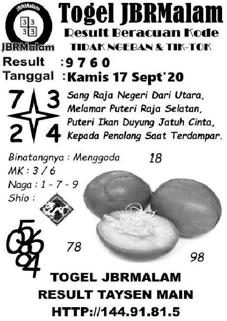 Kode syair Singapore Kamis 17 September 2020 151