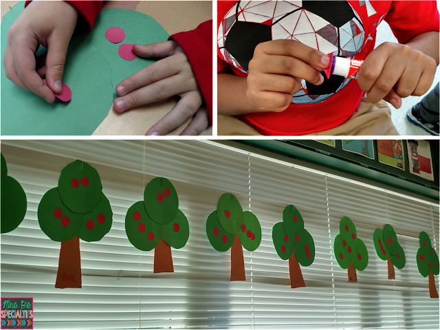 photo of students completing the apple tree craft