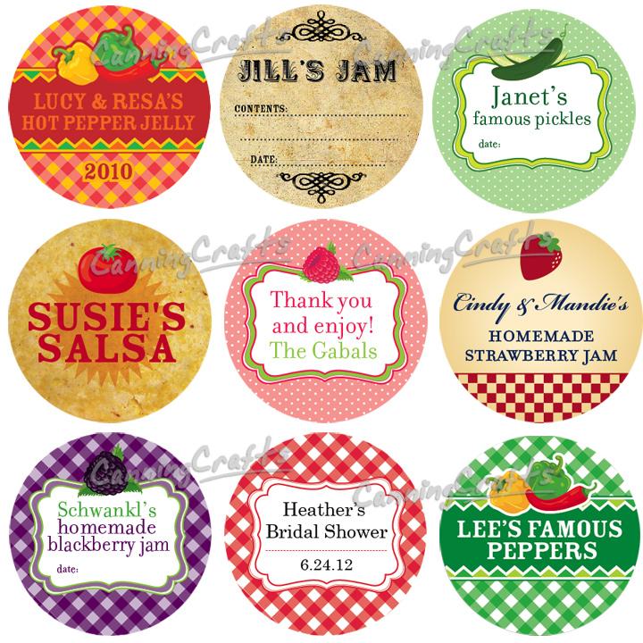 Colorful Adhesive Canning Jar Labels: Custom Canning Jar
