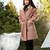 Palton elegant femei roz scurt cu blanita de iarna la reducere