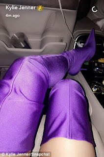Kylie Jenner rocked purple thigh-high boots for PrettyLittleThing's Shape X Stassie Launch