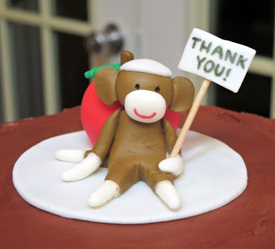 Sock Monkey Teacher Appreciation Cake - Close Up of Fondant Sock Monkey & Apple Topper 2