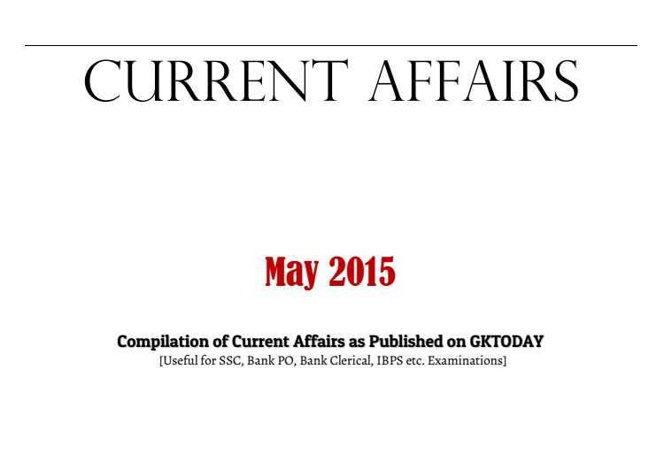 Current Affairs 2015 In Pdf Format