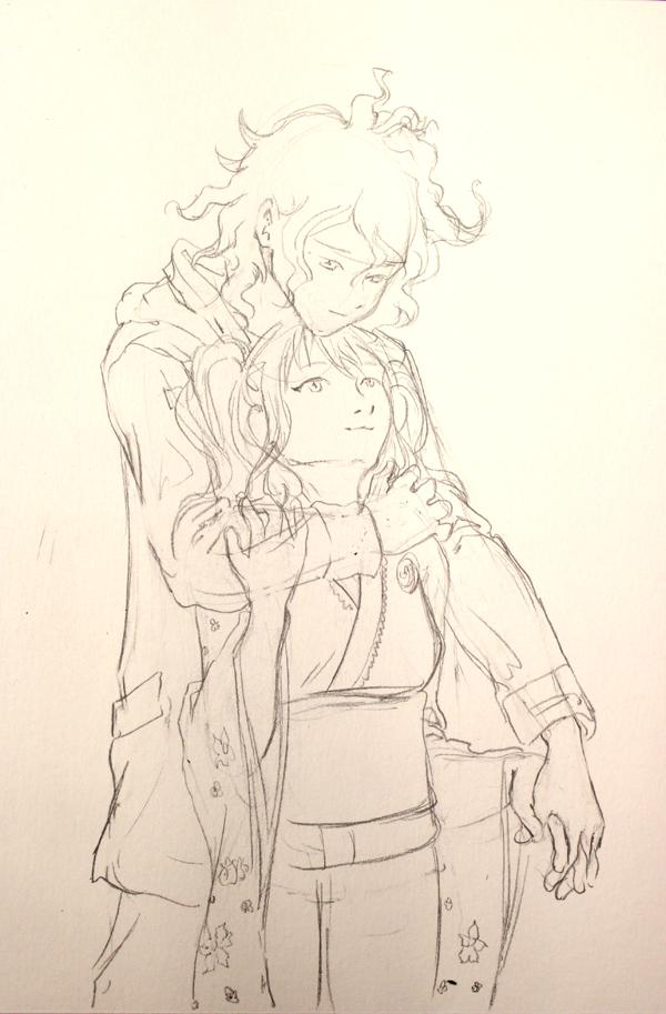 un ptit couple - crayonné dessin manga