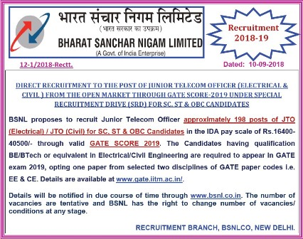 BSNL JTO Recruitment Through GATE
