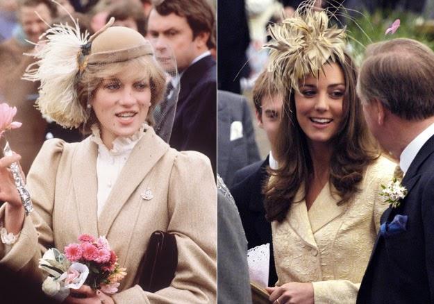 Princesa Diana e Kate chapéus com bluma e roupa bege há semelhanças entre os looks