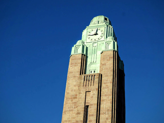 Art Deco clock tower at the train station in Helsinki, Finland