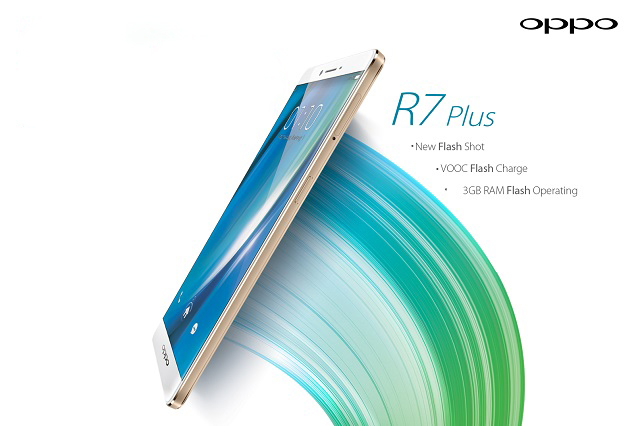 "Oppo R7 Plus Specifications - LAUNCH Announced 2015, May DISPLAY Type AMOLED capacitive touchscreen, 16M colors Size 6.0 inches (~76.6% screen-to-body ratio) Resolution 1080 x 1920 pixels (~367 ppi pixel density) Multitouch Yes Protection Corning Gorilla Glass 3  - Color OS 2.1 BODY Dimensions 158 x 82 x 7.8 mm (6.22 x 3.23 x 0.31 in) Weight 192 g (6.77 oz) SIM Dual SIM (Nano-SIM/ Micro-SIM, dual stand-by) PLATFORM OS Android OS, v5.1.1 (Lollipop) CPU Quad-core 1.5 GHz Cortex-A53 & quad-core 1.0 GHz Cortex-A53 Chipset Qualcomm MSM8939 Snapdragon 615 GPU Adreno 405 MEMORY Card slot microSD, up to 128 GB (uses SIM 2 slot) Internal 32 GB, 3 GB RAM 64 GB, 4 GB RAM CAMERA Primary 13 MP, f/2.2, Schneider-Kreuznach optics, laser autofocus, dual-LED flash Secondary 8 MP, f/2.4 Features 1/3"" sensor size, 1.12 µm pixel size, geo-tagging, touch focus, face detection, panorama, HDR Video 1080p@60fps, 720p@120fps NETWORK Technology GSM / HSPA / LTE 2G bands GSM 850 / 900 / 1800 / 1900 - SIM 1 & SIM 2 3G bands HSDPA 850 / 900 / 1900 / 2100 - Global, Taiwan  HSDPA 850 / 900 / 1700(AWS) / 1900 / 2100 - USA 4G bands LTE band 1(2100), 3(1800), 5(850), 7(2600), 8(900), 40(2300) - Global  LTE band 1(2100), 3(1800), 5(850), 7(2600), 8(900), 28(700), 40(2300) - Taiwan  LTE band 1(2100), 2(1900), 4(1700/2100), 7(2600), 17(700) - USA Speed HSPA, LTE Cat4 150/50 Mbps GPRS Yes EDGE Yes COMMS WLAN Wi-Fi 802.11 a/b/g/n/ac, dual-band, WiFi Direct, hotspot GPS Yes, with A-GPS, GLONASS USB microUSB v2.0, USB Host Radio No Bluetooth v4.0, LE FEATURES Sensors Sensors Fingerprint, accelerometer, proximity, compass Messaging SMS (threaded view), MMS, Email, Push Email Browser HTML5 Java No SOUND Alert types Vibration; MP3, WAV ringtones Loudspeaker Yes 3.5mm jack Yes BATTERY  Non-removable Li-Po 4100 mAh battery Stand-by  Talk time  Music play  MISC Colors Golden, Silver  - Fast battery charging: 75% in 30 min - Active noise cancellation with dedicated mic - MP4/H.264 player - MP3/WAV/eAAC+/FLAC player - Document viewer - Photo/video editor"