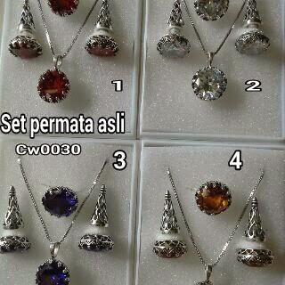 set perhiasan Bali bahan permata asli kode:02052015-1