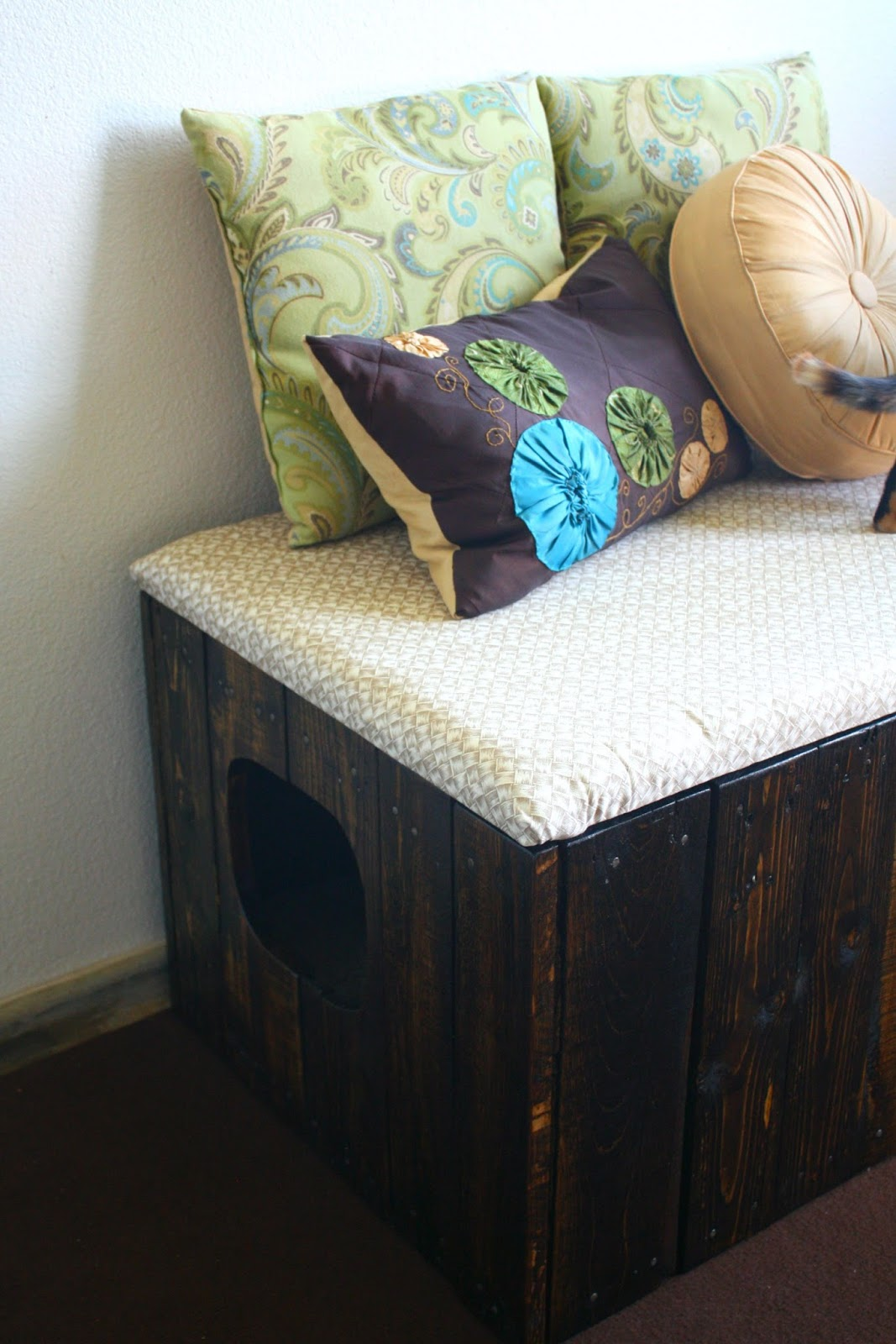 Nice Cat Furniture Tails To Tell Reclaimed Pallet Wood Litter Box Bench
