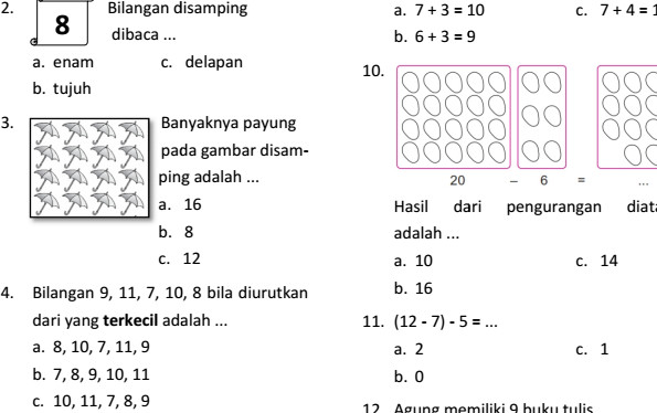 Soal UTS Matematika SD Kelas 1 Semester Ganjil