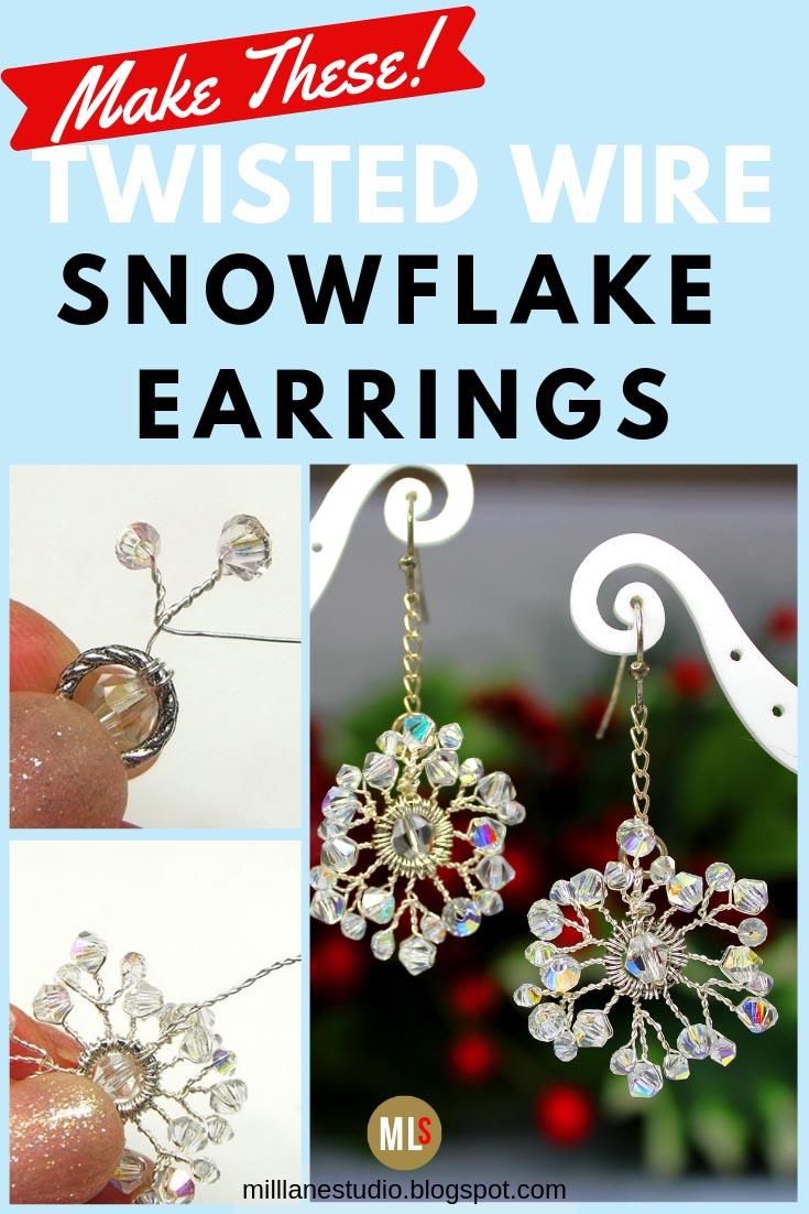 Mill Lane Studio: Delicate Crystal Snowflake Earrings