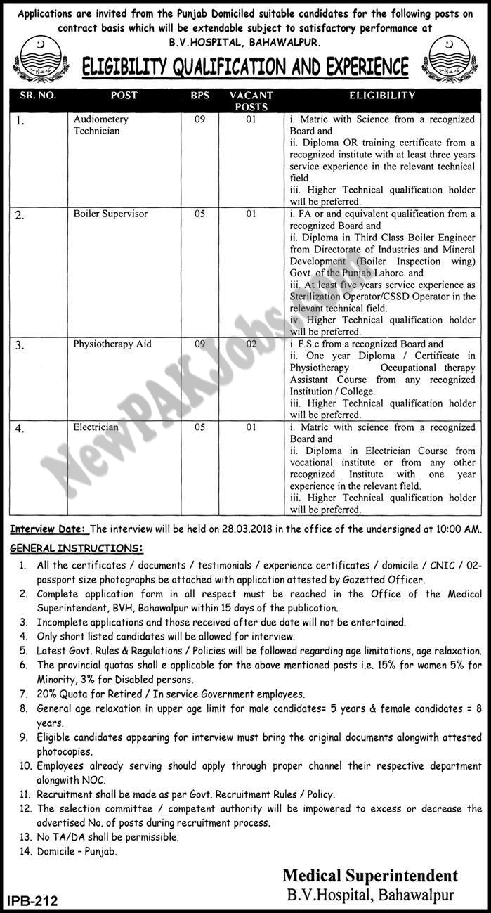 Bahawal Victoria Hospital Latest March 2018 Jobs