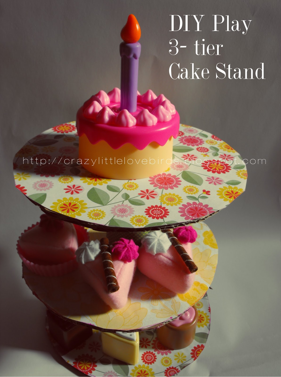 Crazylittlelovebirds: DIY-3 Tier Play Cake Stand