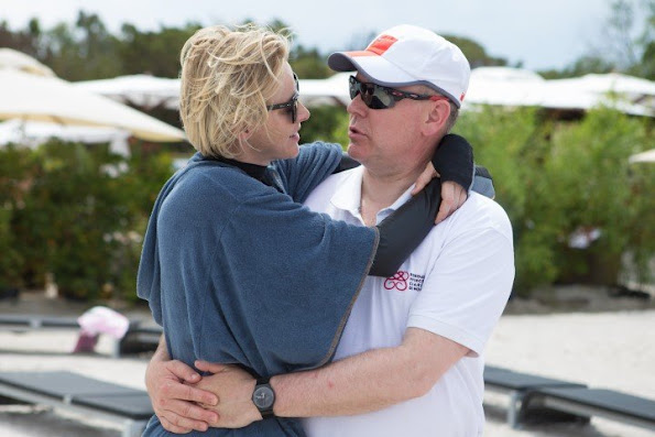 Prince Albert and Princess Charlene of Monaco visited Palombaggia beach as part of Water Safety in the Corsica.