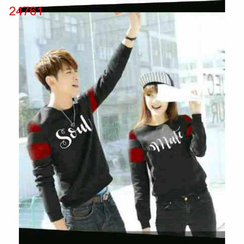 Jual Sweater Couple Sweater Soulmate Arm Black Maroon - 24761