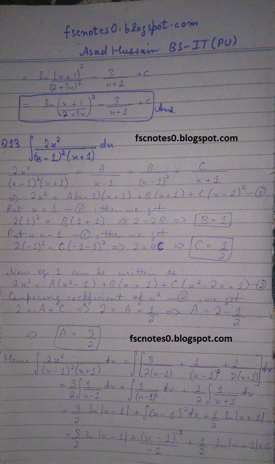 FSc ICS Notes Math Part 2 Chapter 3 Integration Exercise 3.5 question 12 - 22 by Asad Hussain 1