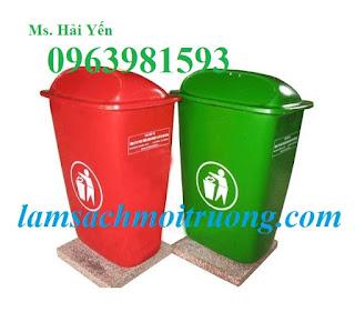 Thùng rác công nghiệp, thùng rác nhựa Composite, thùng rác 50 lít giá rẻ