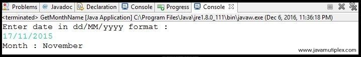 Output of Java program that prints month name of given date.