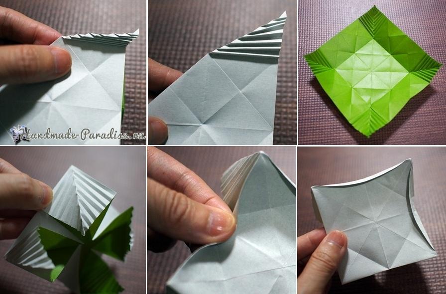 Гортензия из бумаги в технике оригами (9)