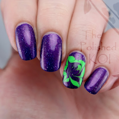 Tonic Polish Huckleberry Sparkle Nail Art Drag Marble