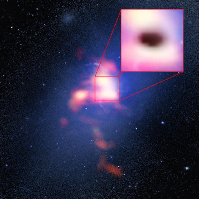 Imagem composta da Galáxia Mais Brilhante do Aglomerado Abell 2597