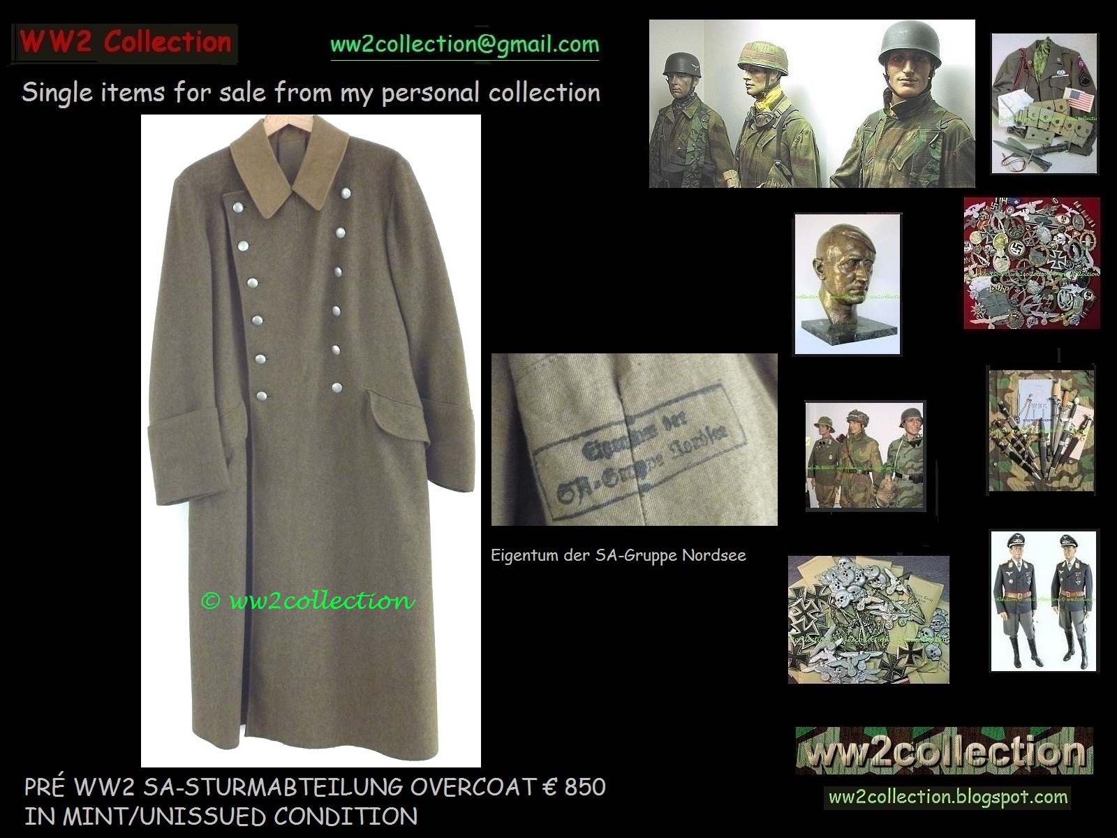 WW2 Collection Price List of my Private Collection Liquidation: SA