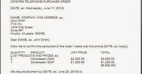 Purchase Order Confirmation Letter Format