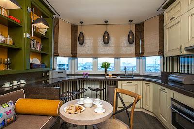 elegant kitchen with large bay window