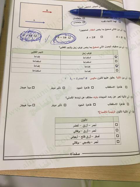 الامتحان الوزاري لمادة الفيزياء للصف العاشر نهاية الفصل الدراسي الأول