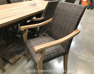 Costco 1500069 - 9-piece Teak Dining Set features very durable wood that can withstand the elements