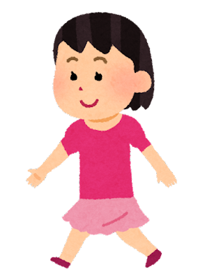 歩く女の子のイラスト