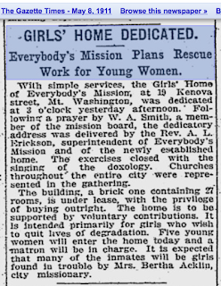 Girls Home Dedicated. Everybody's Mission Plans Rescue Work for Young Women