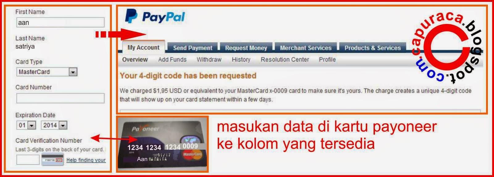 Verifikasi Paypal menggunakan Payoneer