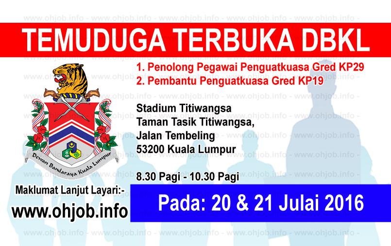 Jawatan Kerja Kosong Dewan Bandaraya Kuala Lumpur (DBKL) logo www.ohjob.info julai 2016