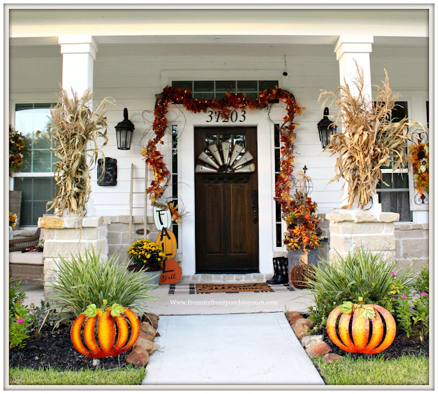 Fall Porch Decorations-Front Porch-Farmhouse Style-Grapevine-Twining Lights-From My Front Porch To yours