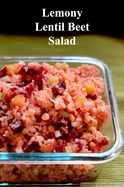 A hearty salad of red lentils and beets in a lemon thyme vinaigrette. This vegan recipe is a healthy addition to a summer pot luck because it keeps well at room temperature.