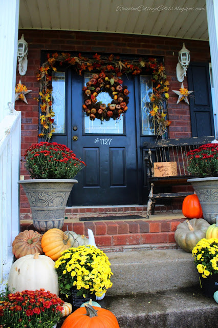 Farmhouse Style, Porch Decor, Mums, Pumpkins, Fall Decor