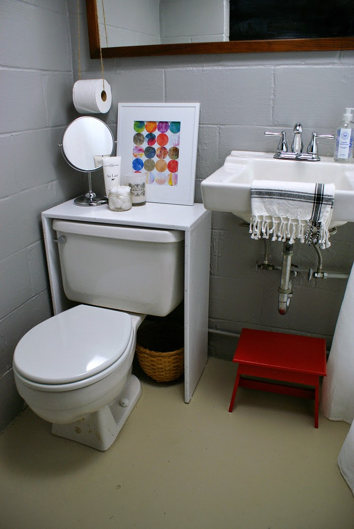 budget makeover of an unfinished basement bathroom