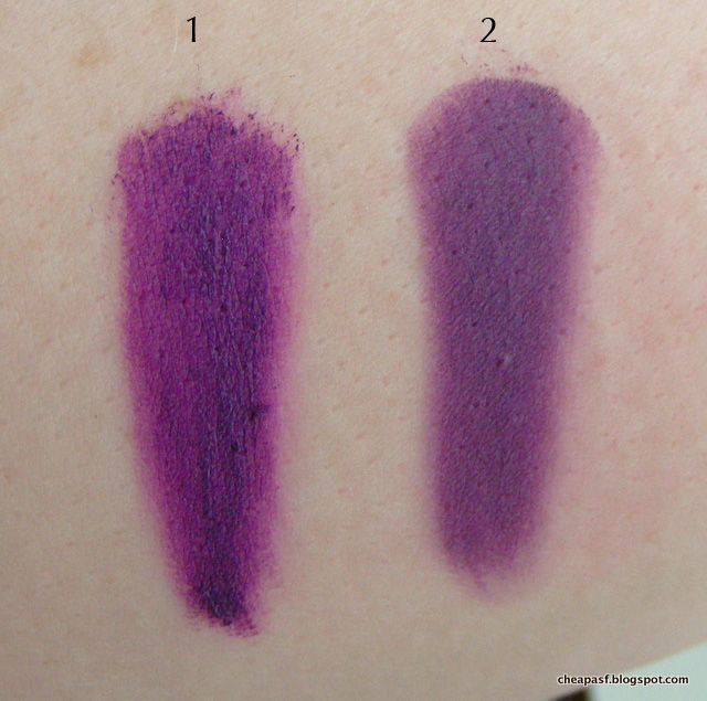 Swatches of 1. Urban Decay Vice Lipstick in Pandemonium; and 2. Esteé Lauder Shameless Violet.