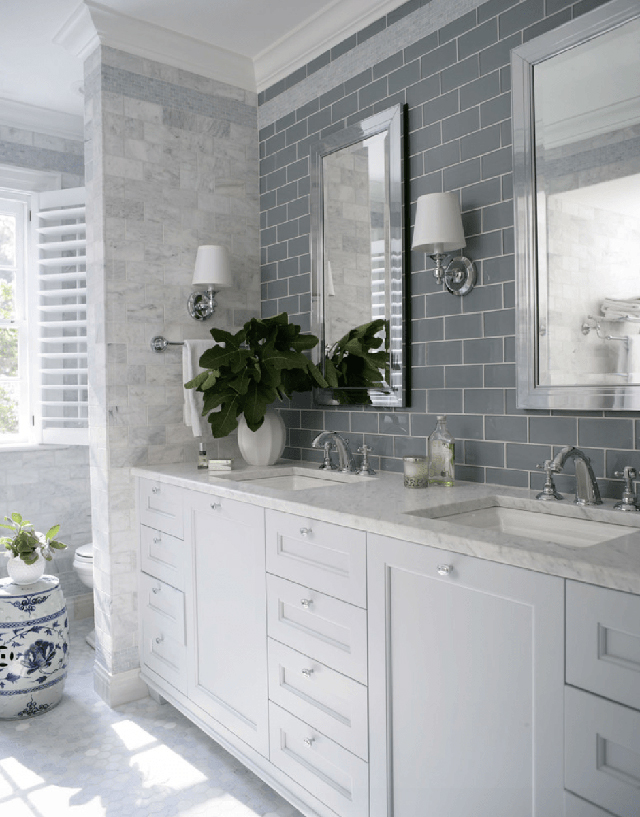 Grey glass subway tile with marble.