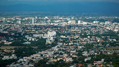 View of Chiang Mai from one of the viewpoints on the way down
