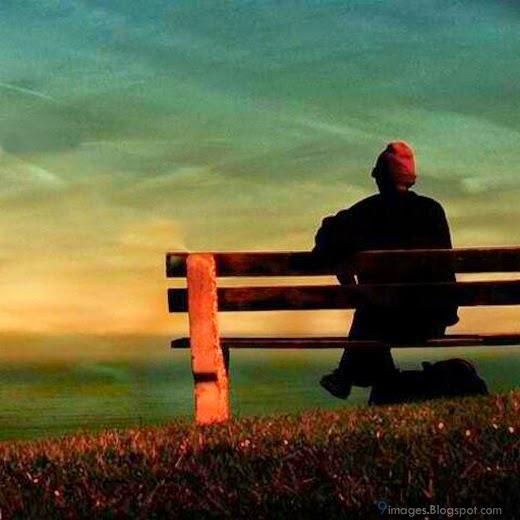 Sad alone boy on bench broken heart fall